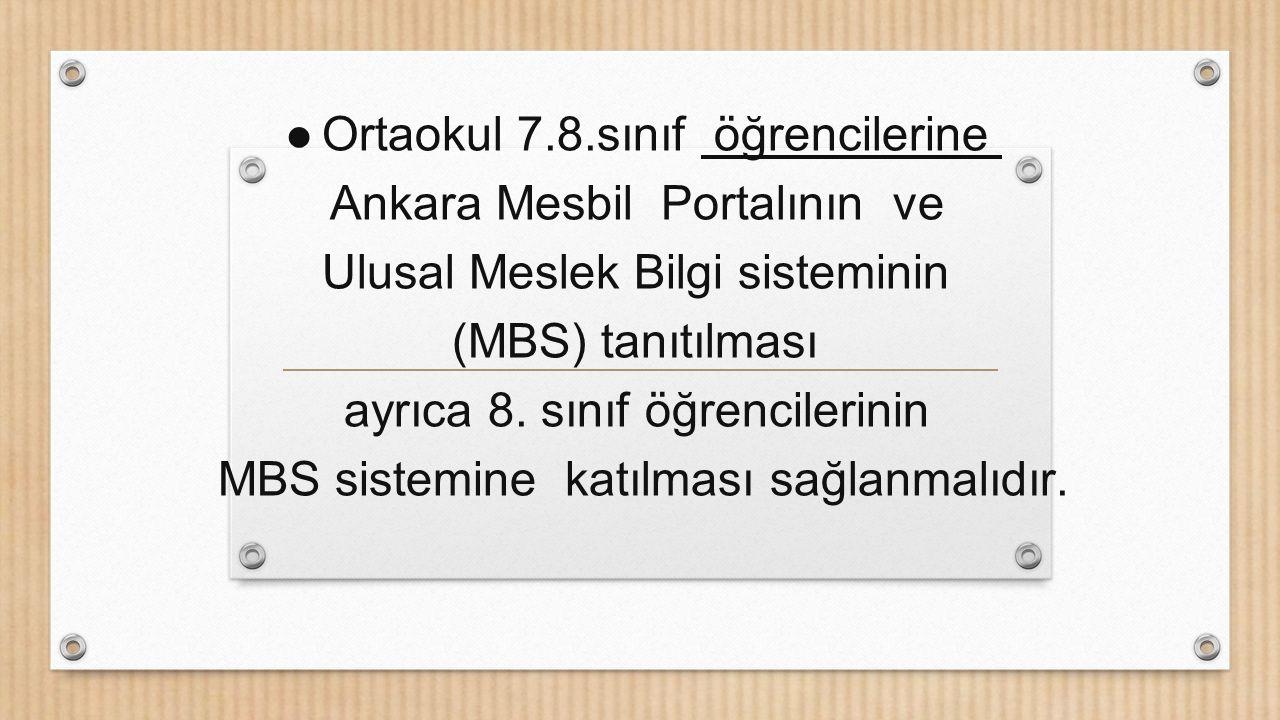Ortaokul 7.8.sınıf öğrencilerine Ankara Mesbil Portalının ve