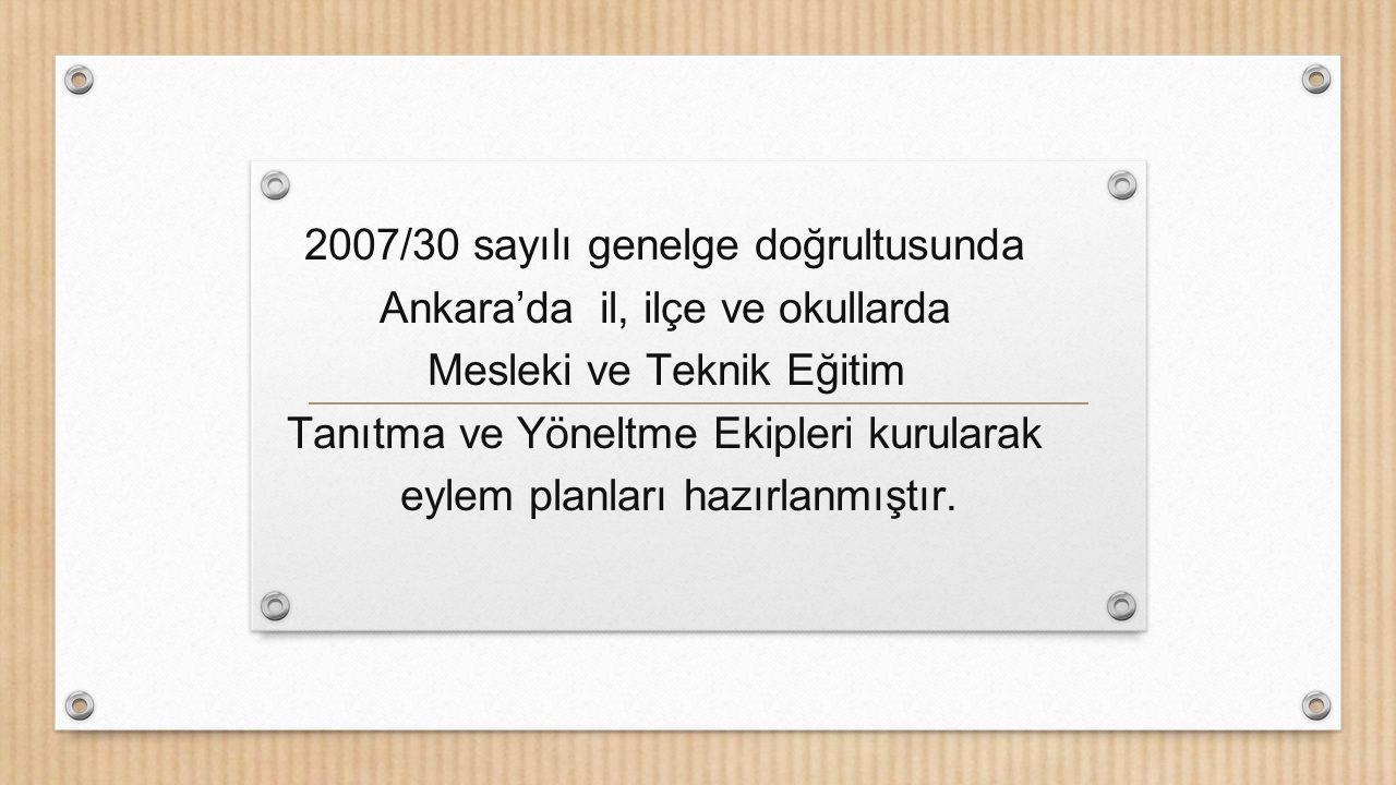 2007/30 sayılı genelge doğrultusunda Ankara'da il, ilçe ve okullarda
