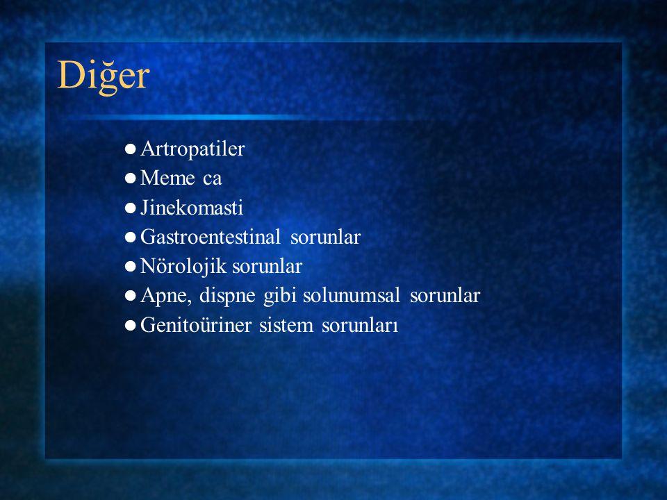 Diğer Artropatiler Meme ca Jinekomasti Gastroentestinal sorunlar