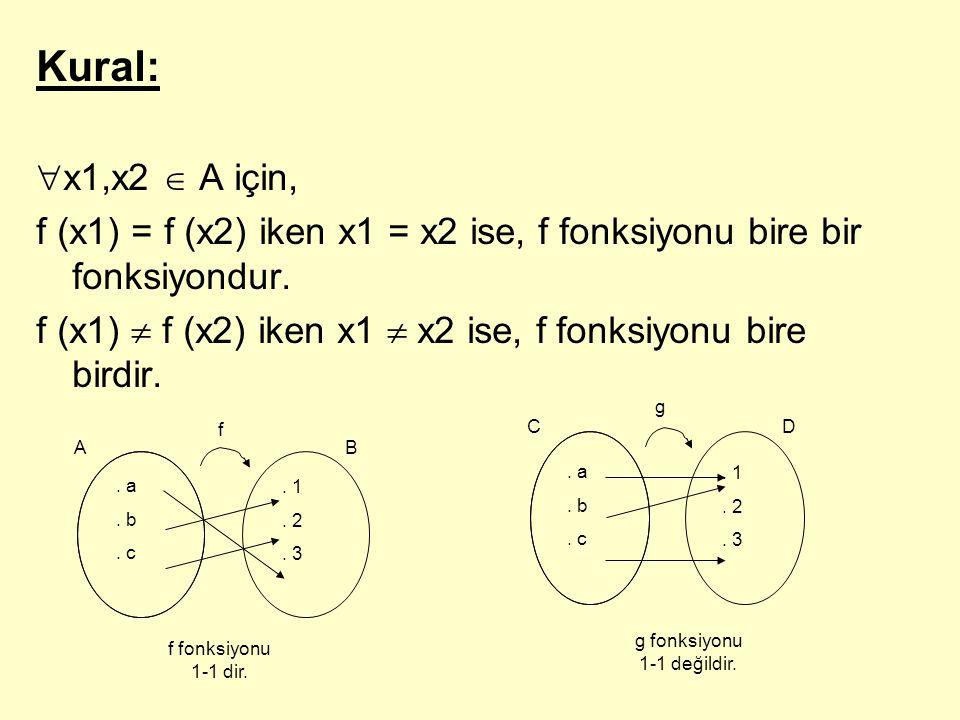 g fonksiyonu 1-1 değildir.