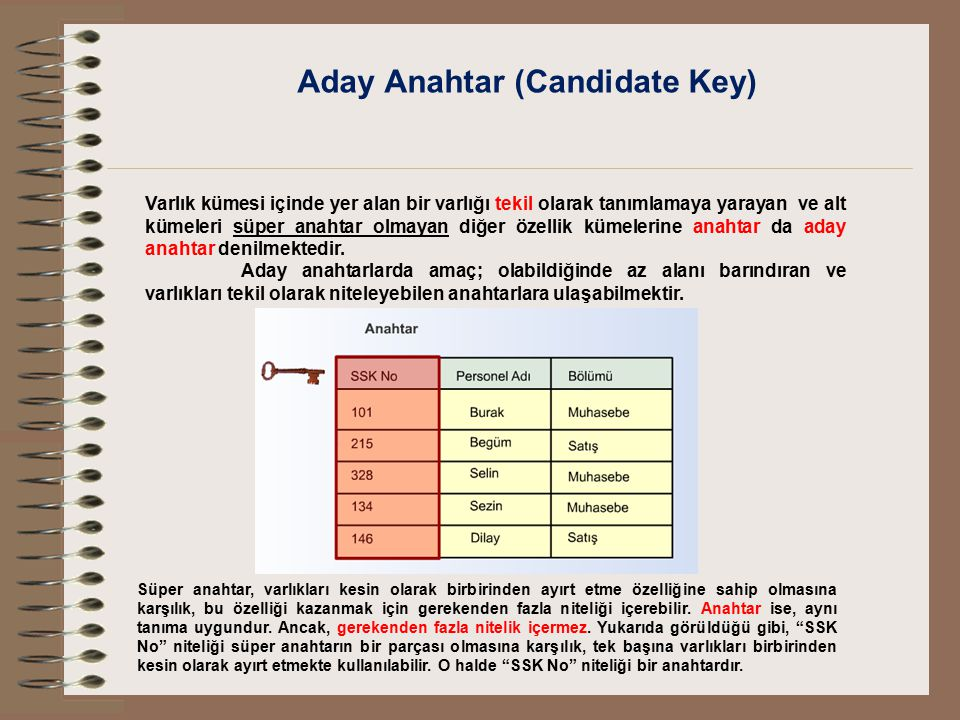 Aday Anahtar (Candidate Key)