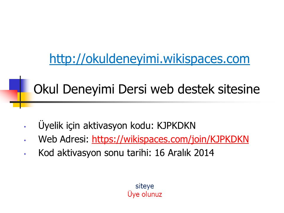 http://okuldeneyimi. wikispaces