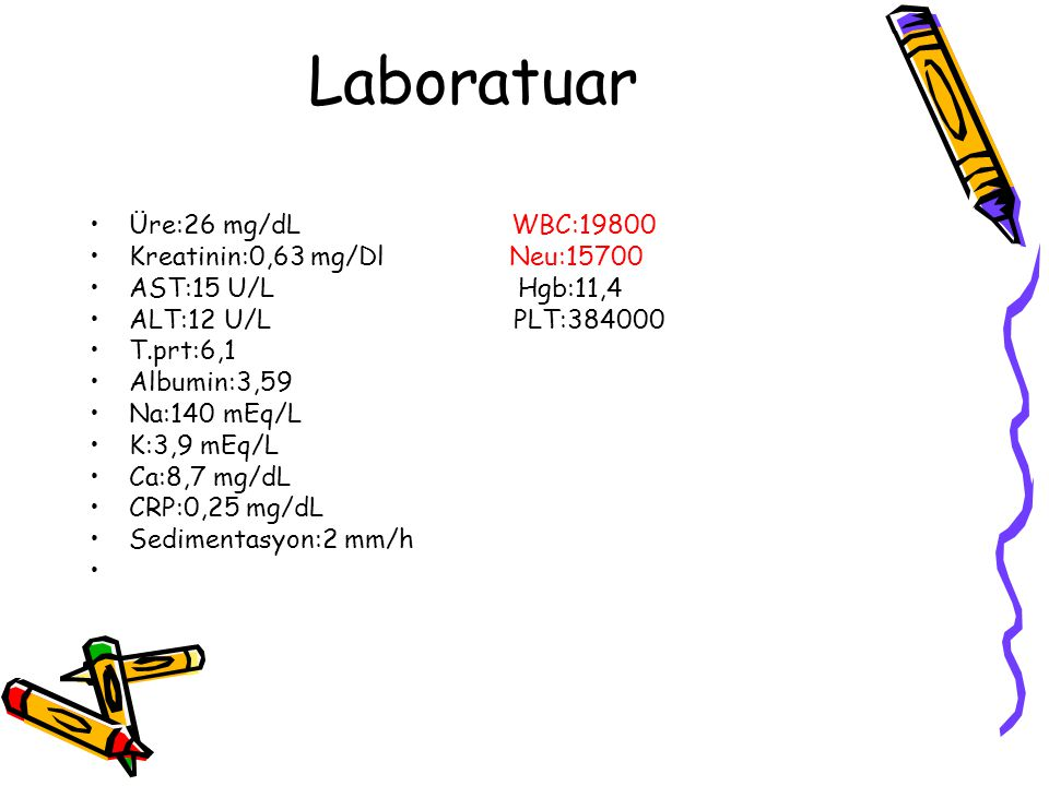 Laboratuar Üre:26 mg/dL WBC:19800 Kreatinin:0,63 mg/Dl Neu:15700