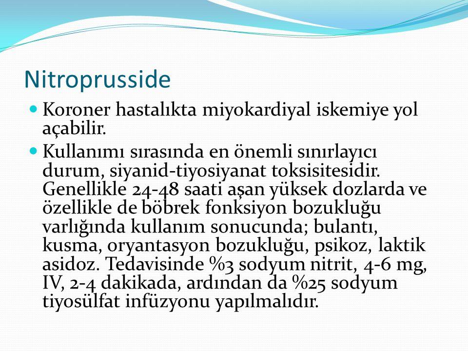 Nitroprusside Koroner hastalıkta miyokardiyal iskemiye yol açabilir.
