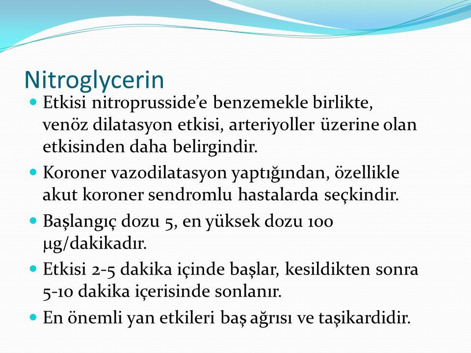 Nitroglycerin Etkisi nitroprusside'e benzemekle birlikte, venöz dilatasyon etkisi, arteriyoller üzerine olan etkisinden daha belirgindir.