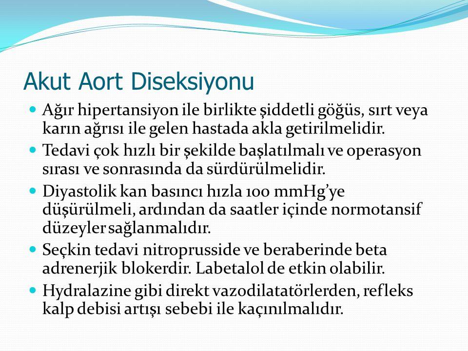 Akut Aort Diseksiyonu Ağır hipertansiyon ile birlikte şiddetli göğüs, sırt veya karın ağrısı ile gelen hastada akla getirilmelidir.