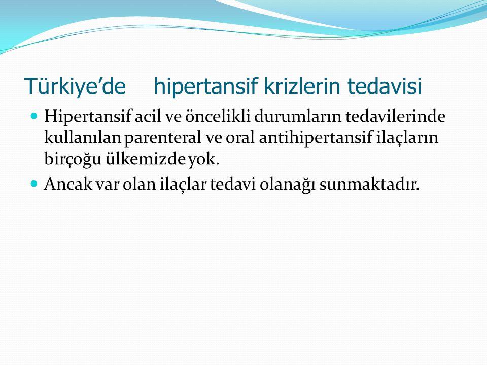 Türkiye'de hipertansif krizlerin tedavisi