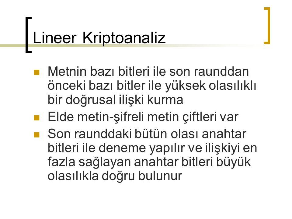 Lineer Kriptoanaliz Metnin bazı bitleri ile son raunddan önceki bazı bitler ile yüksek olasılıklı bir doğrusal ilişki kurma.