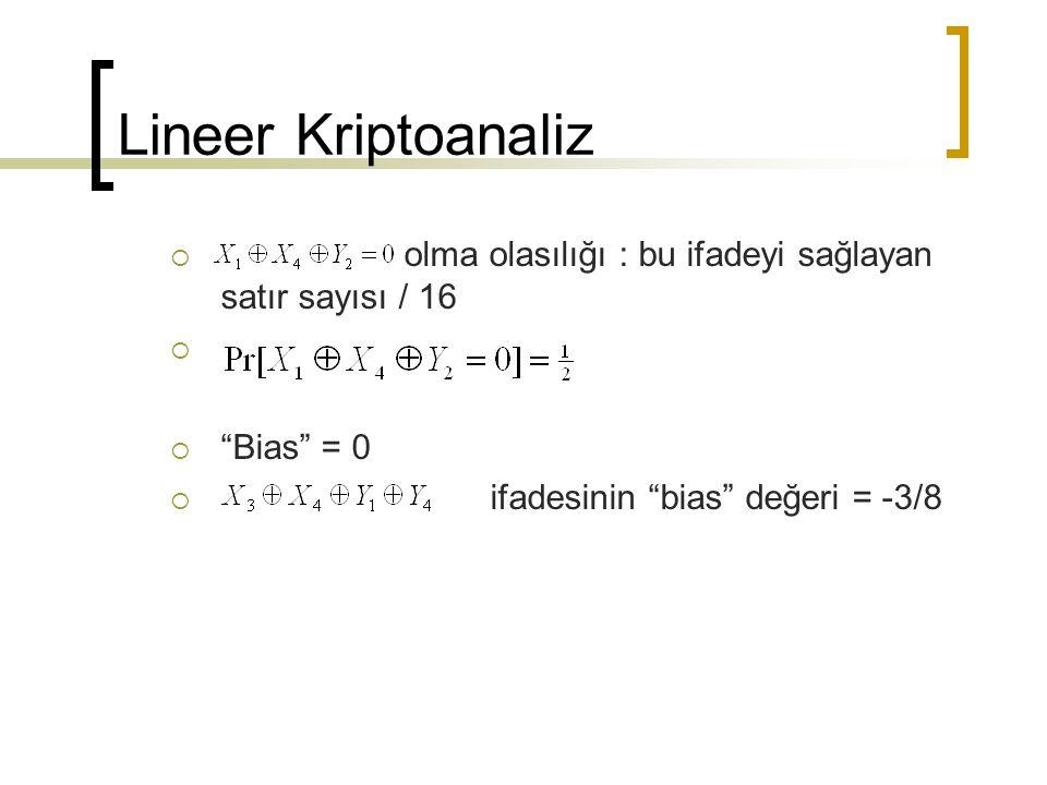 Lineer Kriptoanaliz olma olasılığı : bu ifadeyi sağlayan satır sayısı / 16.