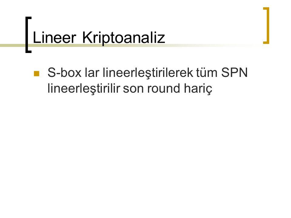 Lineer Kriptoanaliz S-box lar lineerleştirilerek tüm SPN lineerleştirilir son round hariç