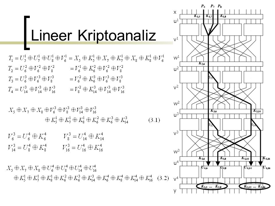 x v1 u1 w1 u2 v2 w2 u3 v3 w3 u4 v4 y Lineer Kriptoanaliz