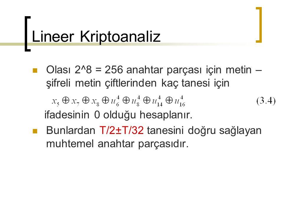 Lineer Kriptoanaliz Olası 2^8 = 256 anahtar parçası için metin – şifreli metin çiftlerinden kaç tanesi için.