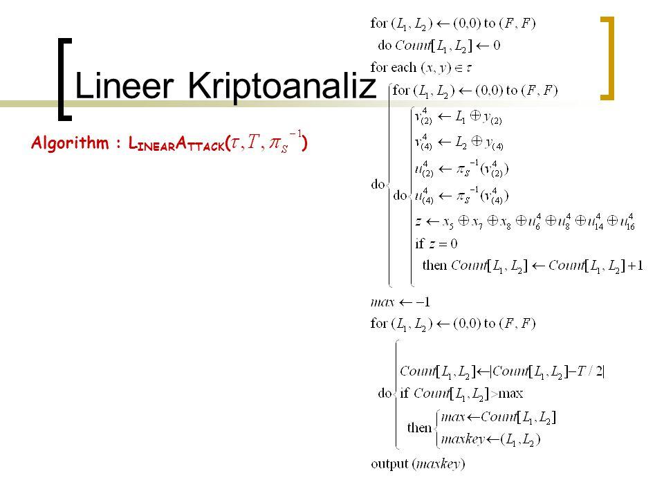 Lineer Kriptoanaliz Algorithm : LINEARATTACK( )
