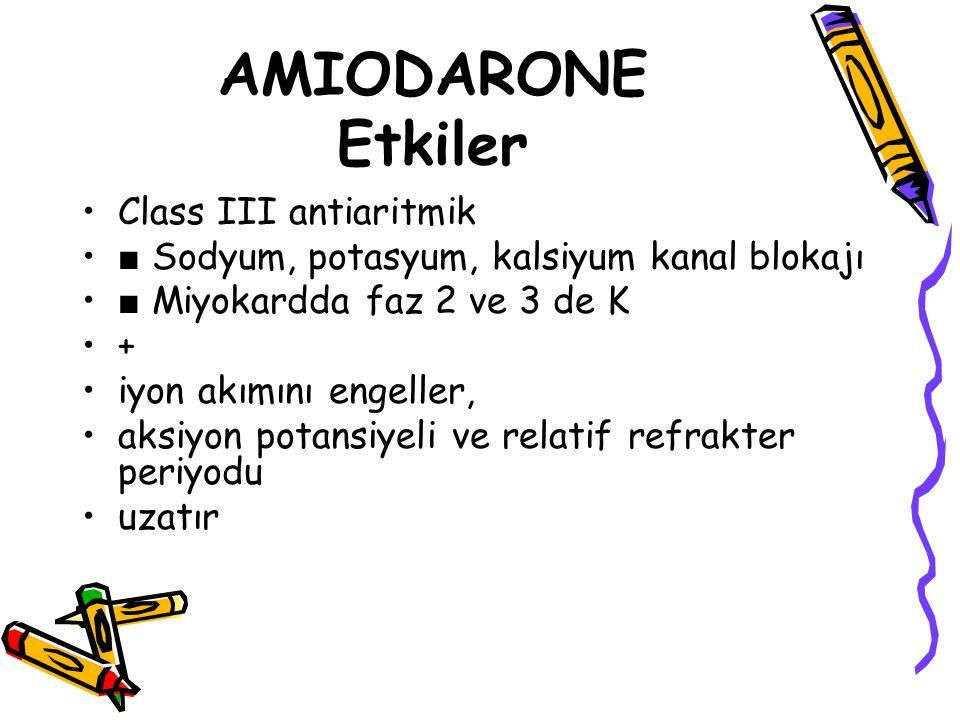 AMIODARONE Etkiler Class III antiaritmik