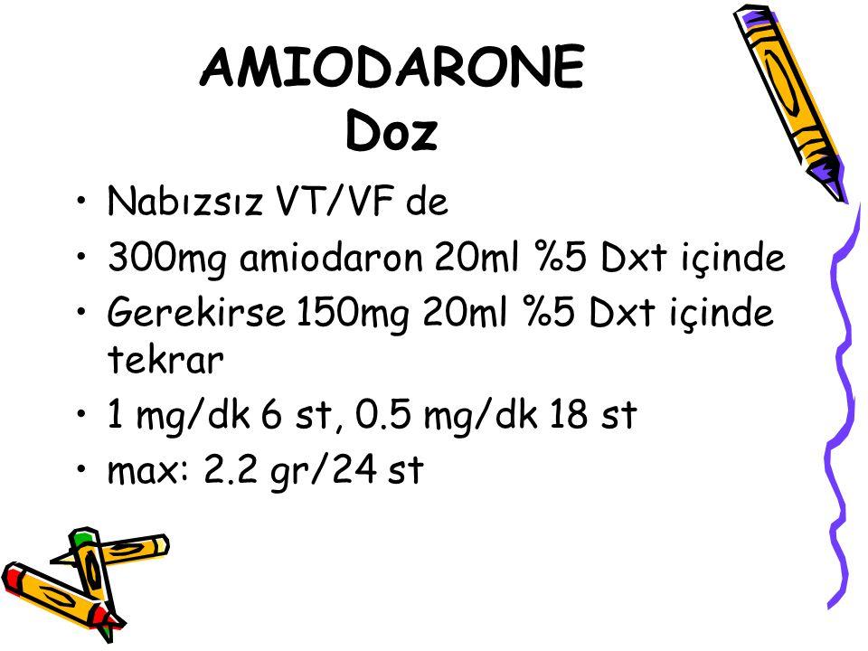 AMIODARONE Doz Nabızsız VT/VF de 300mg amiodaron 20ml %5 Dxt içinde