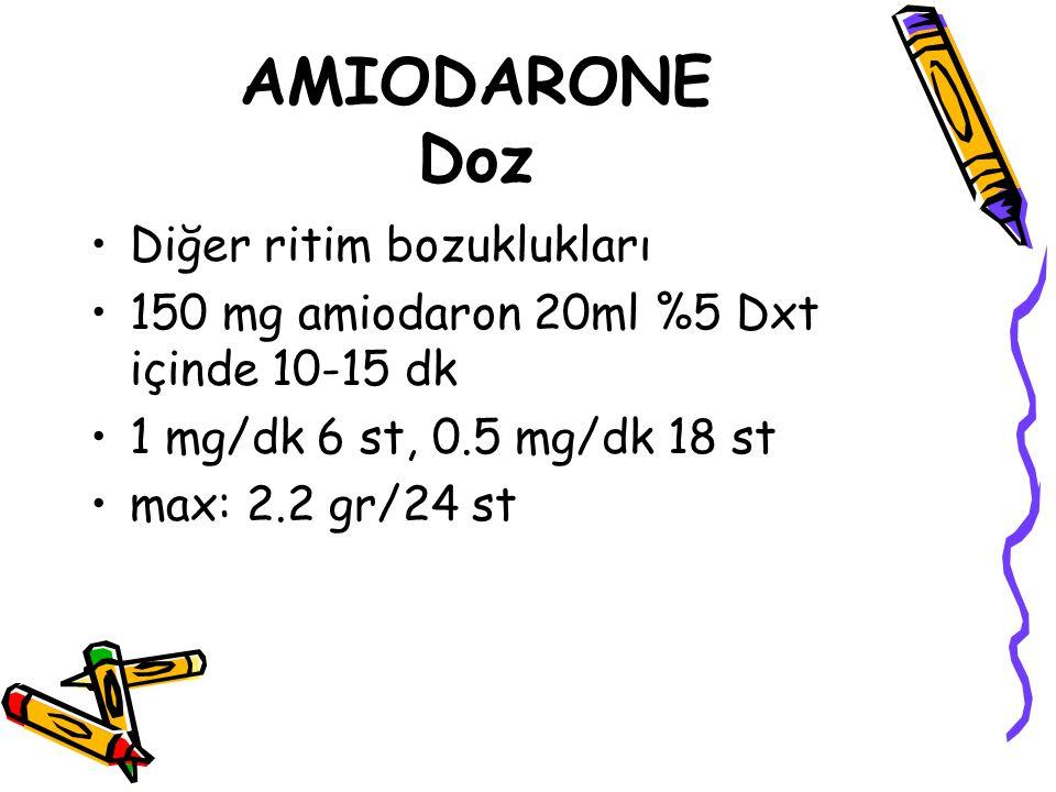AMIODARONE Doz Diğer ritim bozuklukları