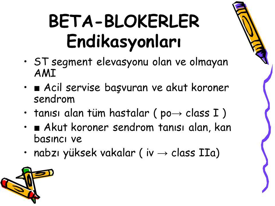 BETA-BLOKERLER Endikasyonları