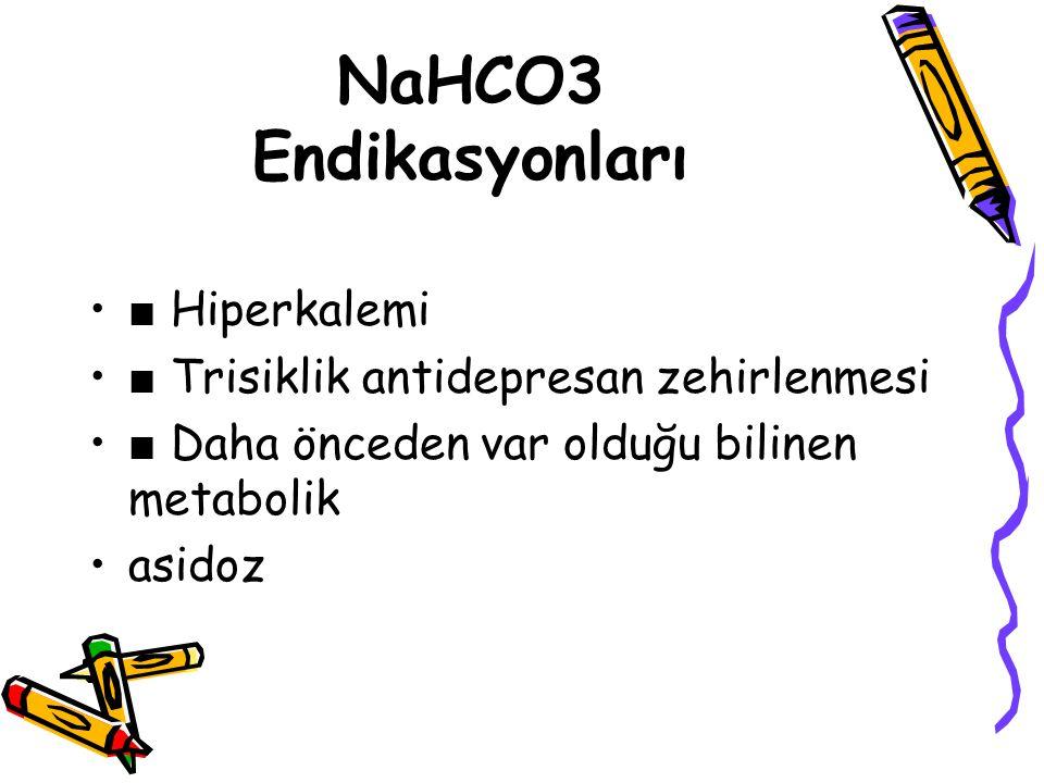 NaHCO3 Endikasyonları ■ Hiperkalemi
