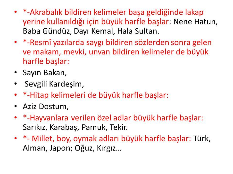 *-Akrabalık bildiren kelimeler başa geldiğinde lakap yerine kullanıldığı için büyük harfle başlar: Nene Hatun, Baba Gündüz, Dayı Kemal, Hala Sultan.