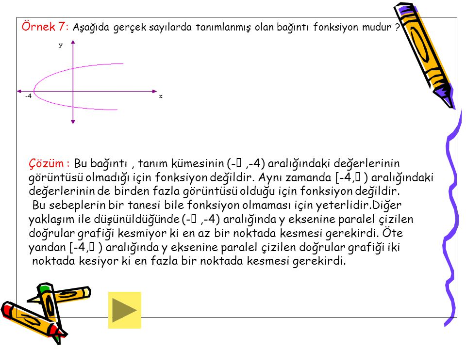 Örnek 7: Aşağıda gerçek sayılarda tanımlanmış olan bağıntı fonksiyon mudur