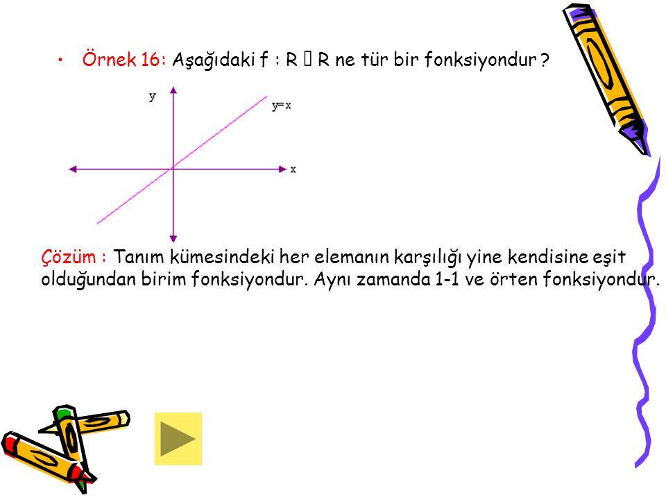 Örnek 16: Aşağıdaki f : R  R ne tür bir fonksiyondur