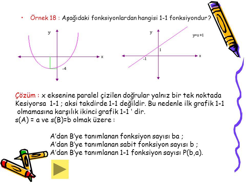 Çözüm : x eksenine paralel çizilen doğrular yalnız bir tek noktada