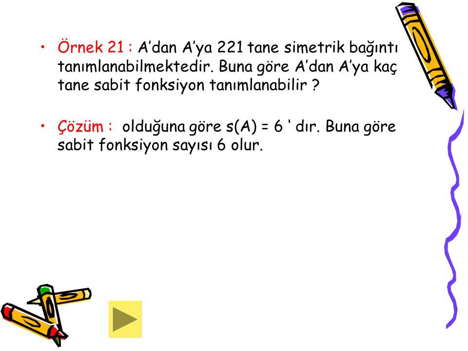 Örnek 21 : A'dan A'ya 221 tane simetrik bağıntı tanımlanabilmektedir
