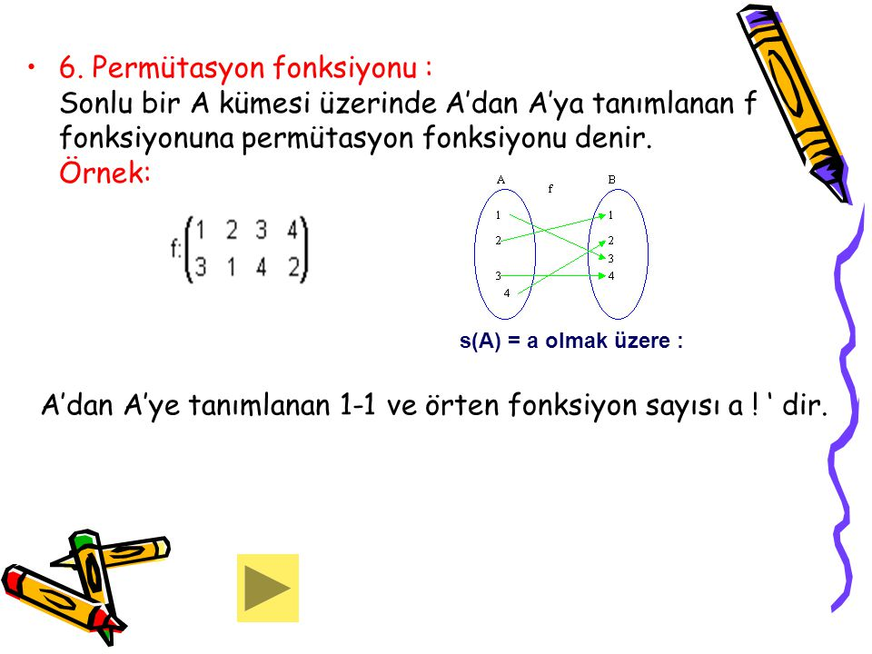 A'dan A'ye tanımlanan 1-1 ve örten fonksiyon sayısı a ! ' dir.
