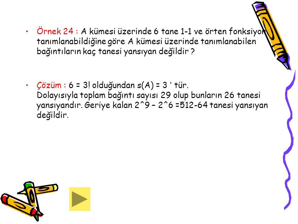 Örnek 24 : A kümesi üzerinde 6 tane 1-1 ve örten fonksiyon tanımlanabildiğine göre A kümesi üzerinde tanımlanabilen bağıntıların kaç tanesi yansıyan değildir
