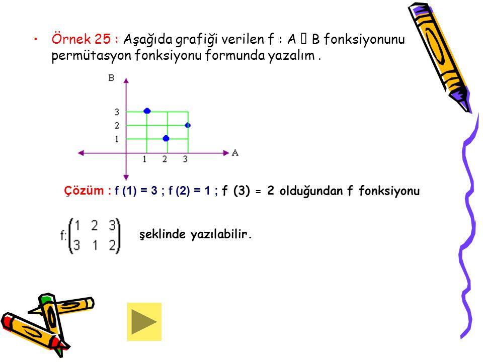 Örnek 25 : Aşağıda grafiği verilen f : A  B fonksiyonunu permütasyon fonksiyonu formunda yazalım .