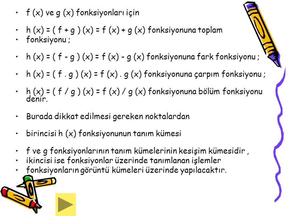 f (x) ve g (x) fonksiyonları için