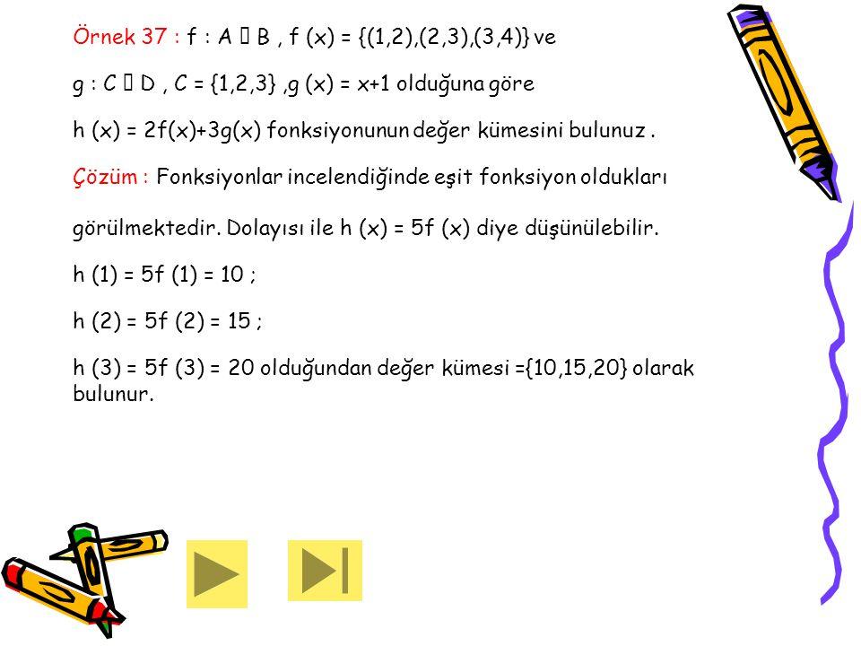 Örnek 37 : f : A  B , f (x) = {(1,2),(2,3),(3,4)} ve