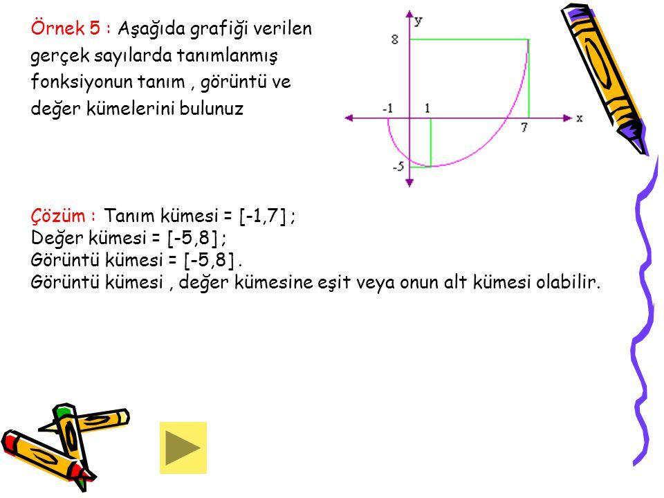 Örnek 5 : Aşağıda grafiği verilen