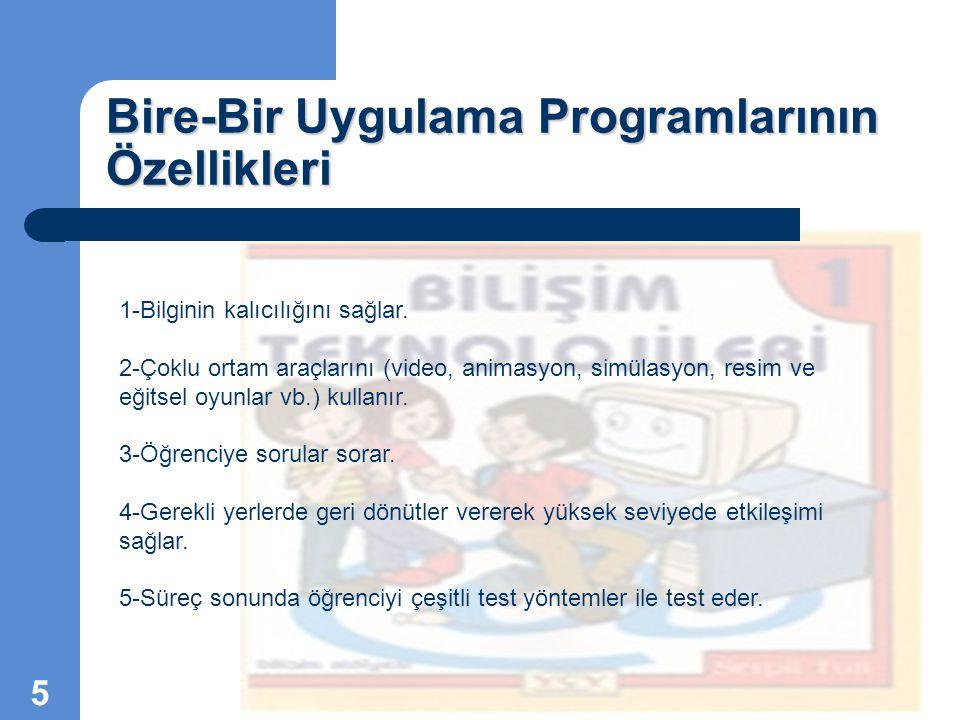 Bire-Bir Uygulama Programlarının Özellikleri