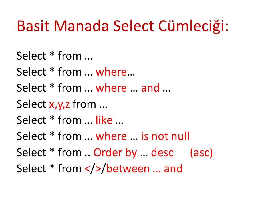 Basit Manada Select Cümleciği: