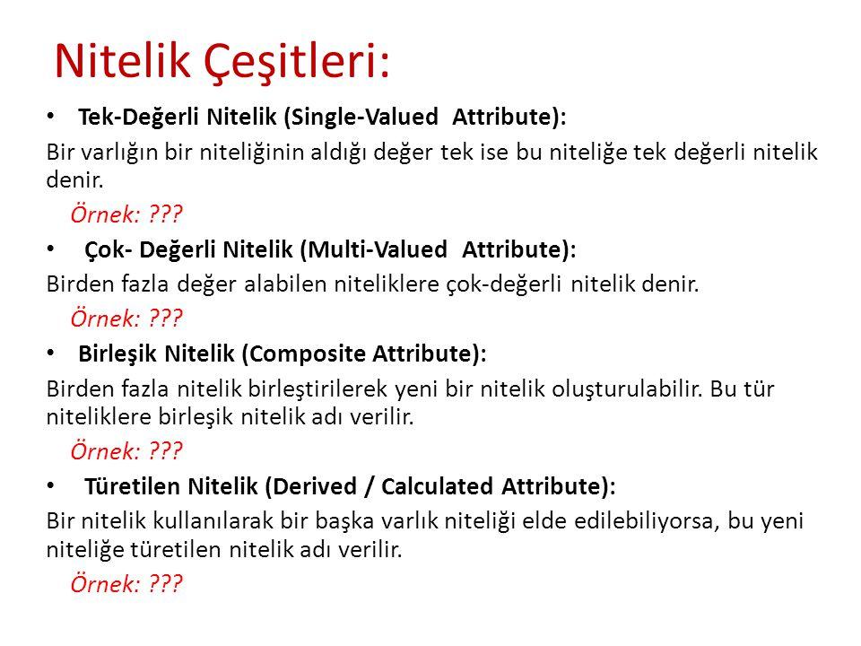 Nitelik Çeşitleri: Tek-Değerli Nitelik (Single-Valued Attribute):