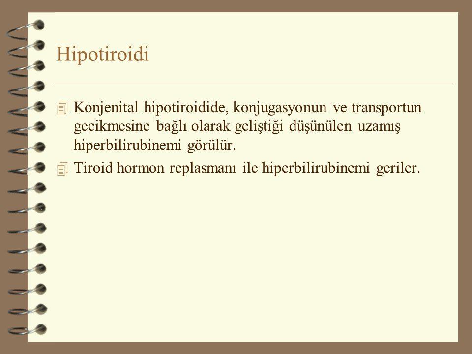 Hipotiroidi Konjenital hipotiroidide, konjugasyonun ve transportun gecikmesine bağlı olarak geliştiği düşünülen uzamış hiperbilirubinemi görülür.