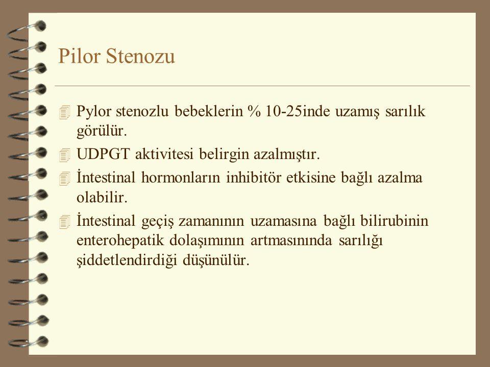 Pilor Stenozu Pylor stenozlu bebeklerin % 10-25inde uzamış sarılık görülür. UDPGT aktivitesi belirgin azalmıştır.