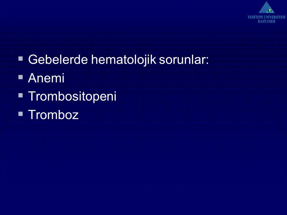 Gebelerde hematolojik sorunlar: