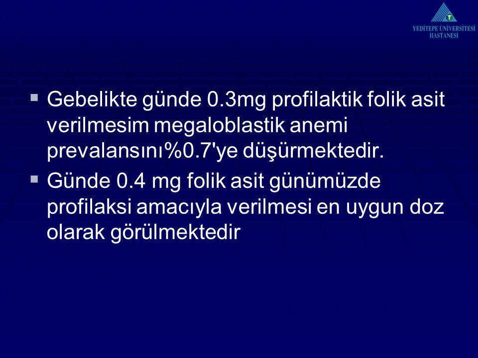Gebelikte günde 0.3mg profilaktik folik asit verilmesim megaloblastik anemi prevalansını%0.7 ye düşürmektedir.