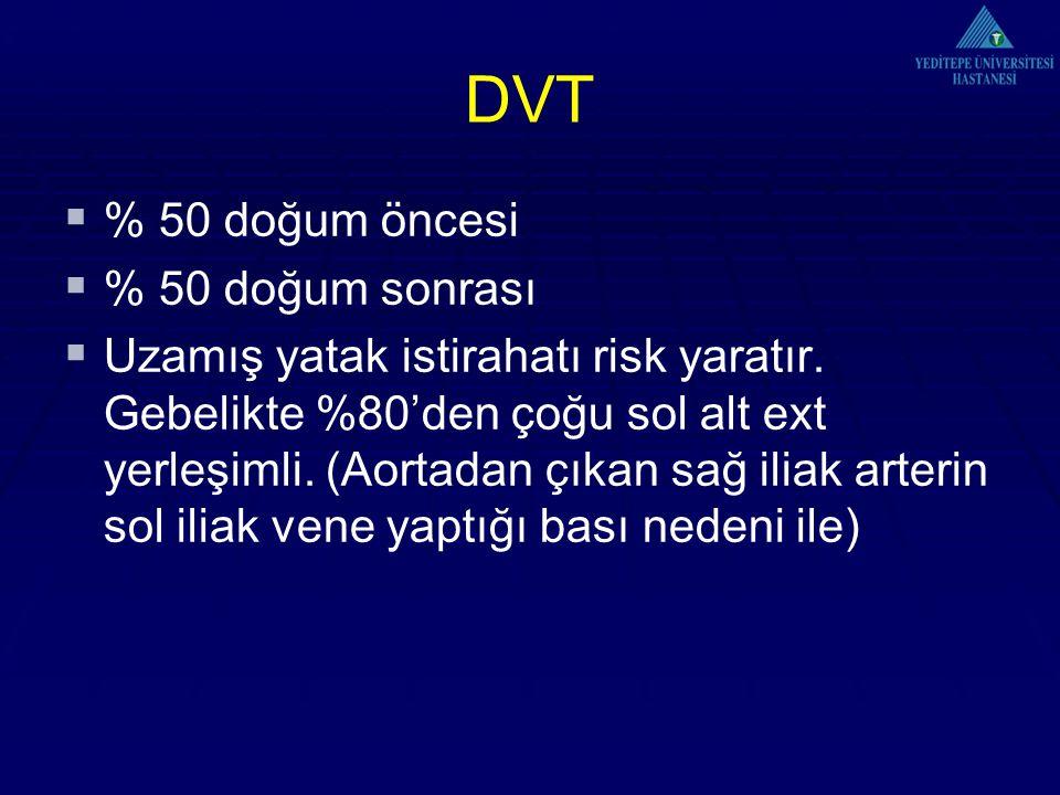 DVT % 50 doğum öncesi % 50 doğum sonrası