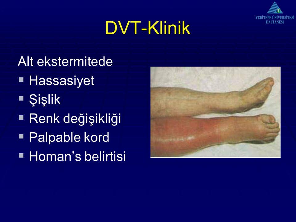 DVT-Klinik Alt ekstermitede Hassasiyet Şişlik Renk değişikliği