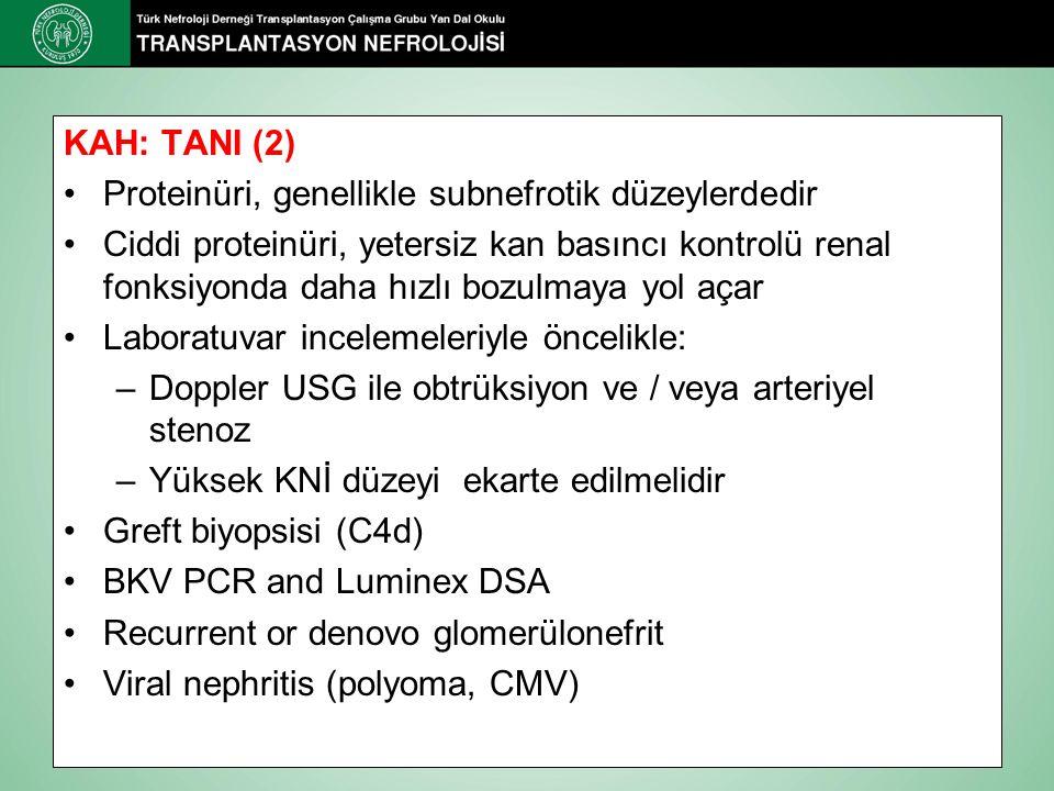 KAH: TANI (2) Proteinüri, genellikle subnefrotik düzeylerdedir.