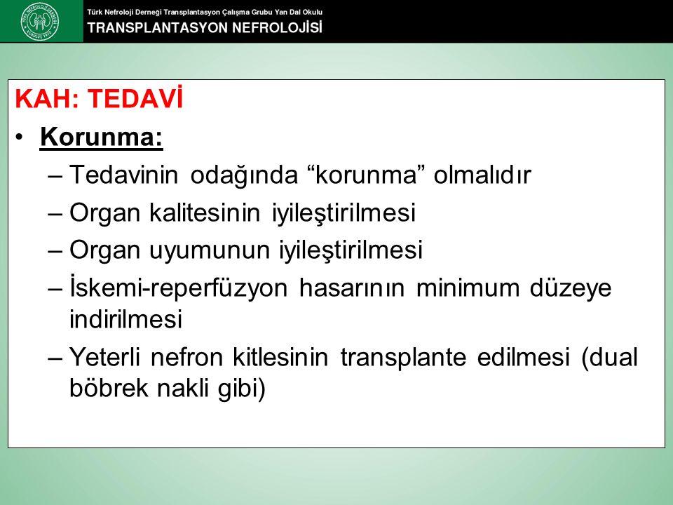 KAH: TEDAVİ Korunma: Tedavinin odağında korunma olmalıdır. Organ kalitesinin iyileştirilmesi. Organ uyumunun iyileştirilmesi.