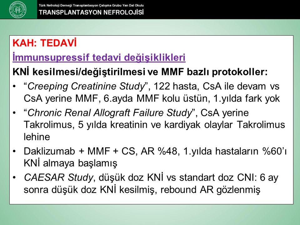 KAH: TEDAVİ İmmunsupressif tedavi değişiklikleri. KNİ kesilmesi/değiştirilmesi ve MMF bazlı protokoller: