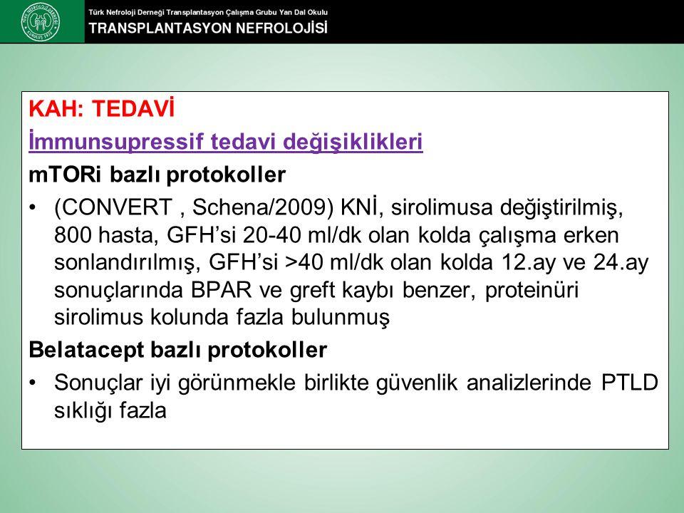 KAH: TEDAVİ İmmunsupressif tedavi değişiklikleri. mTORi bazlı protokoller.