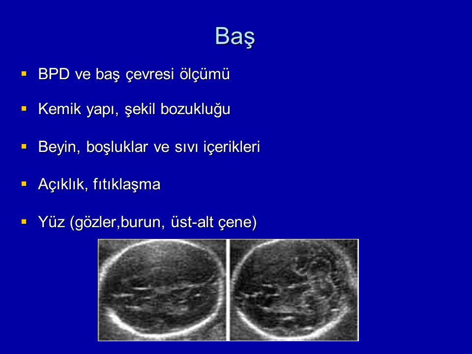 Baş BPD ve baş çevresi ölçümü Kemik yapı, şekil bozukluğu