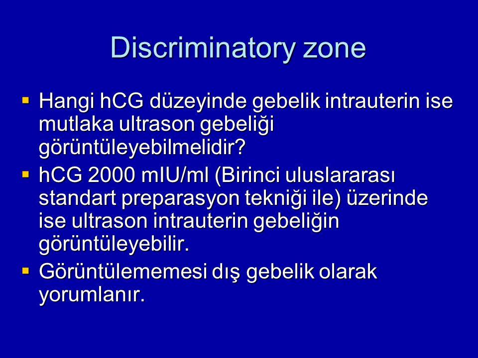Discriminatory zone Hangi hCG düzeyinde gebelik intrauterin ise mutlaka ultrason gebeliği görüntüleyebilmelidir