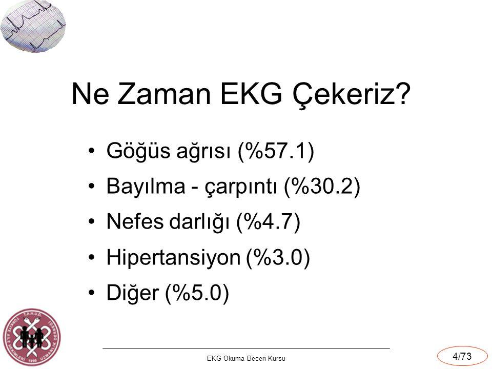 Ne Zaman EKG Çekeriz Göğüs ağrısı (%57.1) Bayılma - çarpıntı (%30.2)
