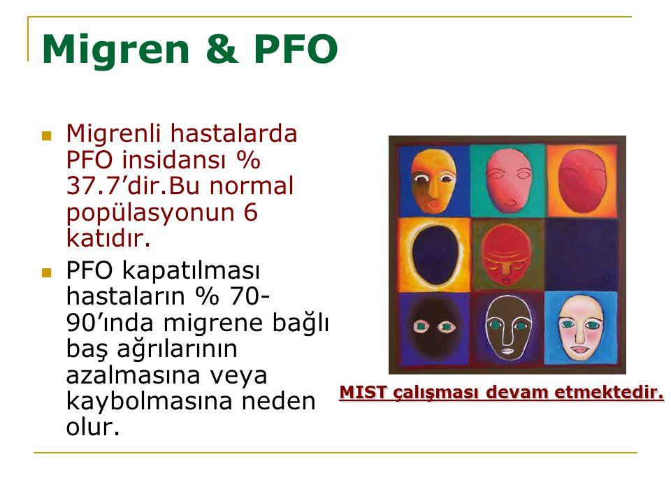 Migren & PFO Migrenli hastalarda PFO insidansı % 37.7'dir.Bu normal popülasyonun 6 katıdır.